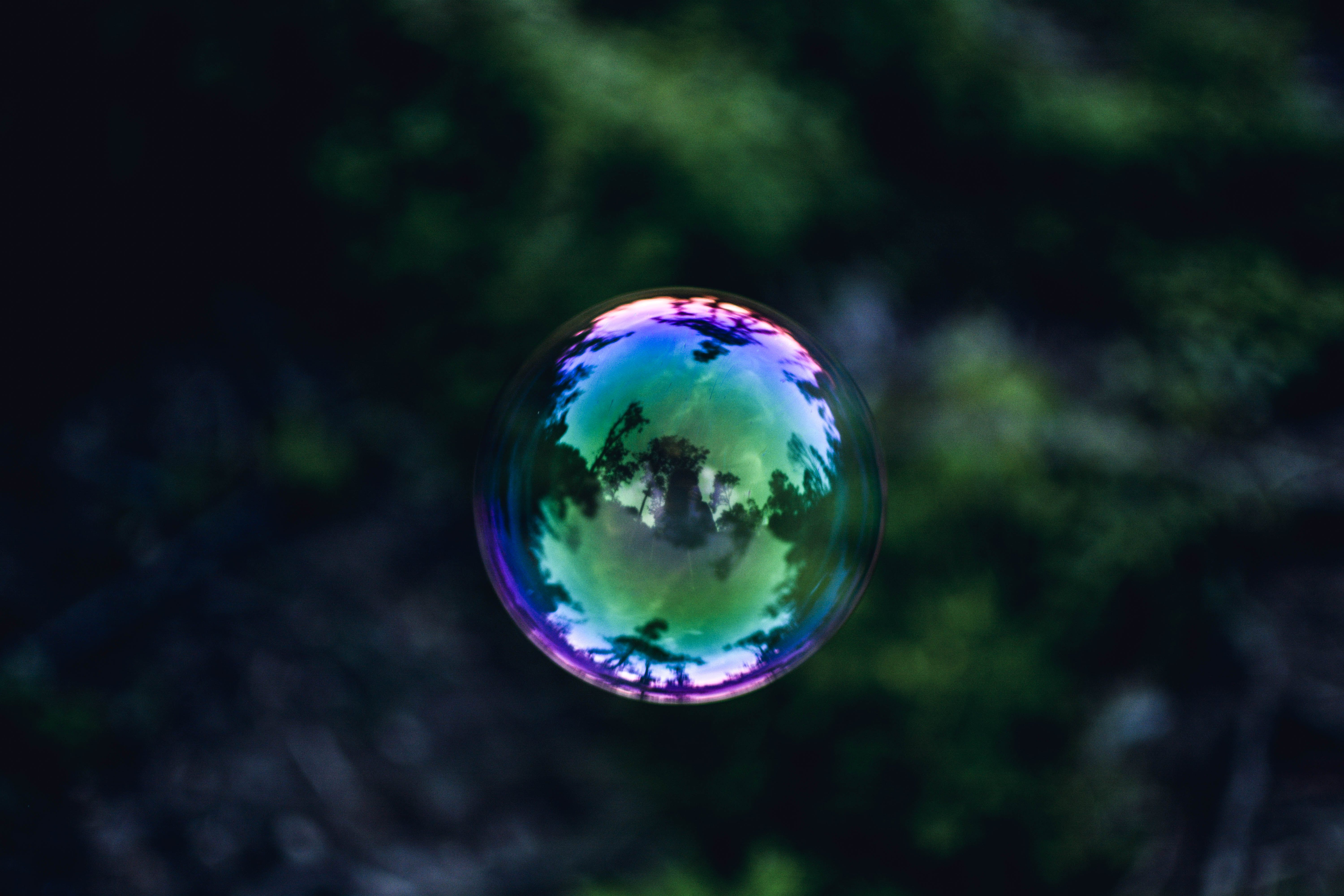 Blue, Green, and Pink Glass Ball