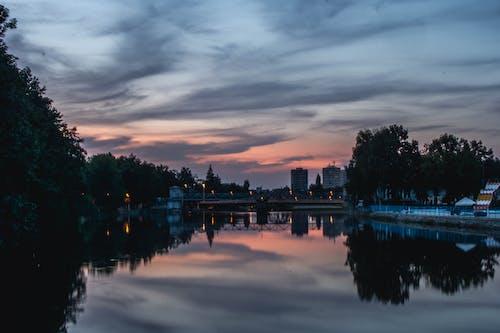 シティ, ブリッジ, 反射, 夕方の無料の写真素材