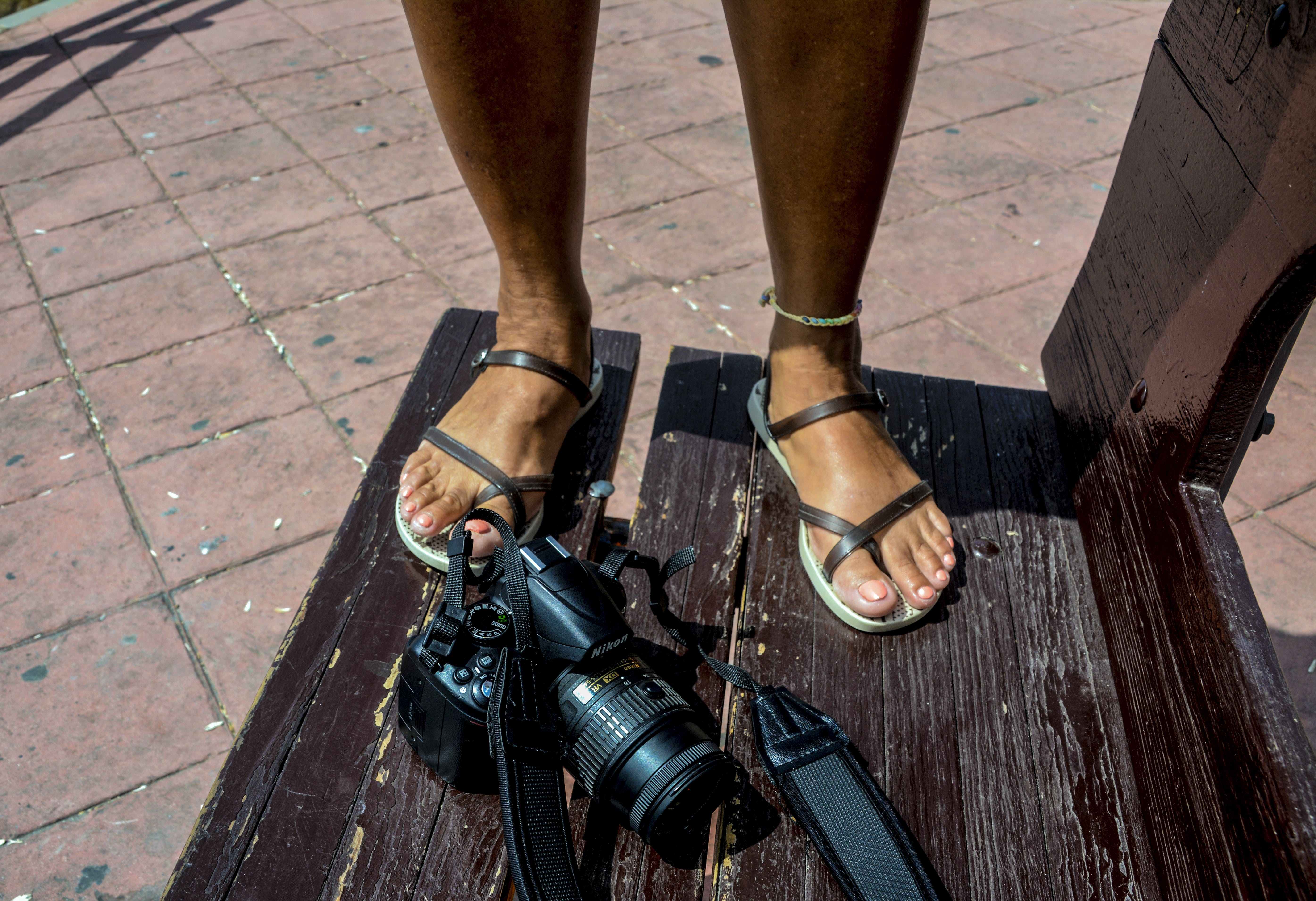 Free stock photo of brench, camera, feet, standing