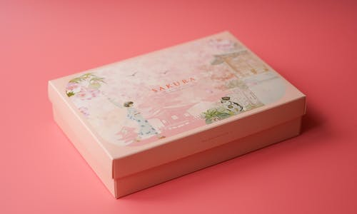 White and Pink Floral Print Box