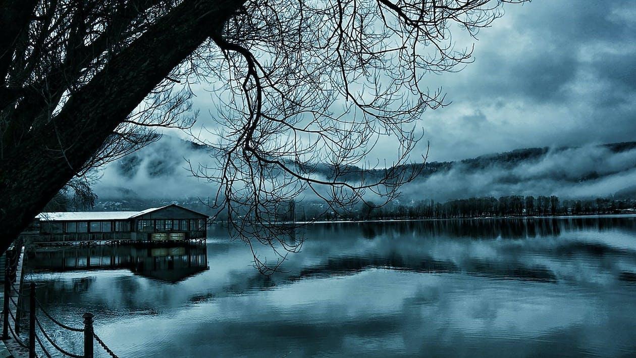 blau, dunkel, schnee
