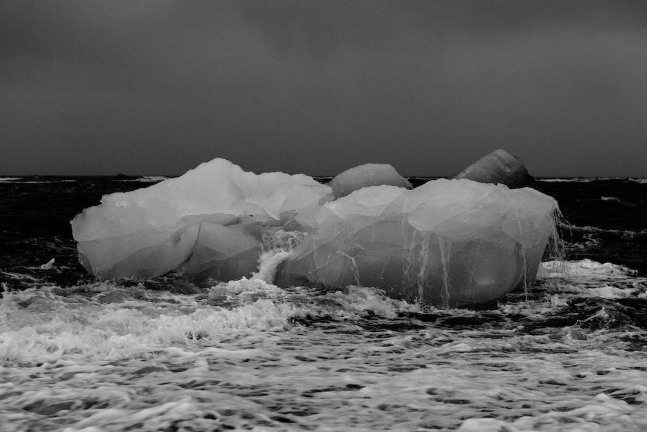 black-and-white, climate, iceberg