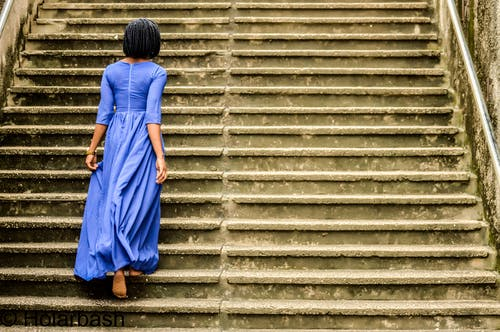 Free stock photo of african woman, ancient, back view, blue
