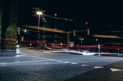 Gratis lagerfoto af lang eksponering, lysstriber, vej