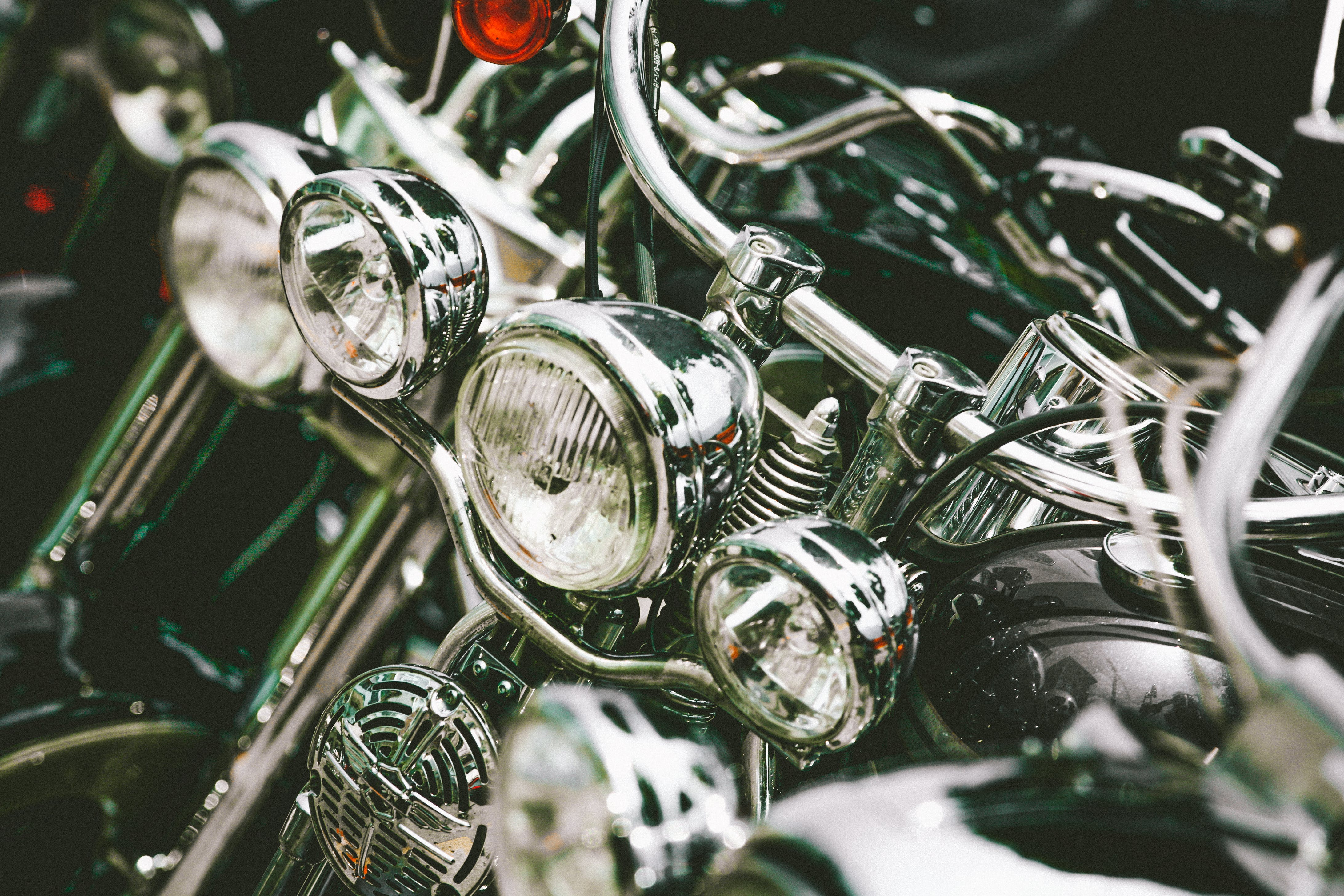 Close-Up Photo of Motorcycle Headlights