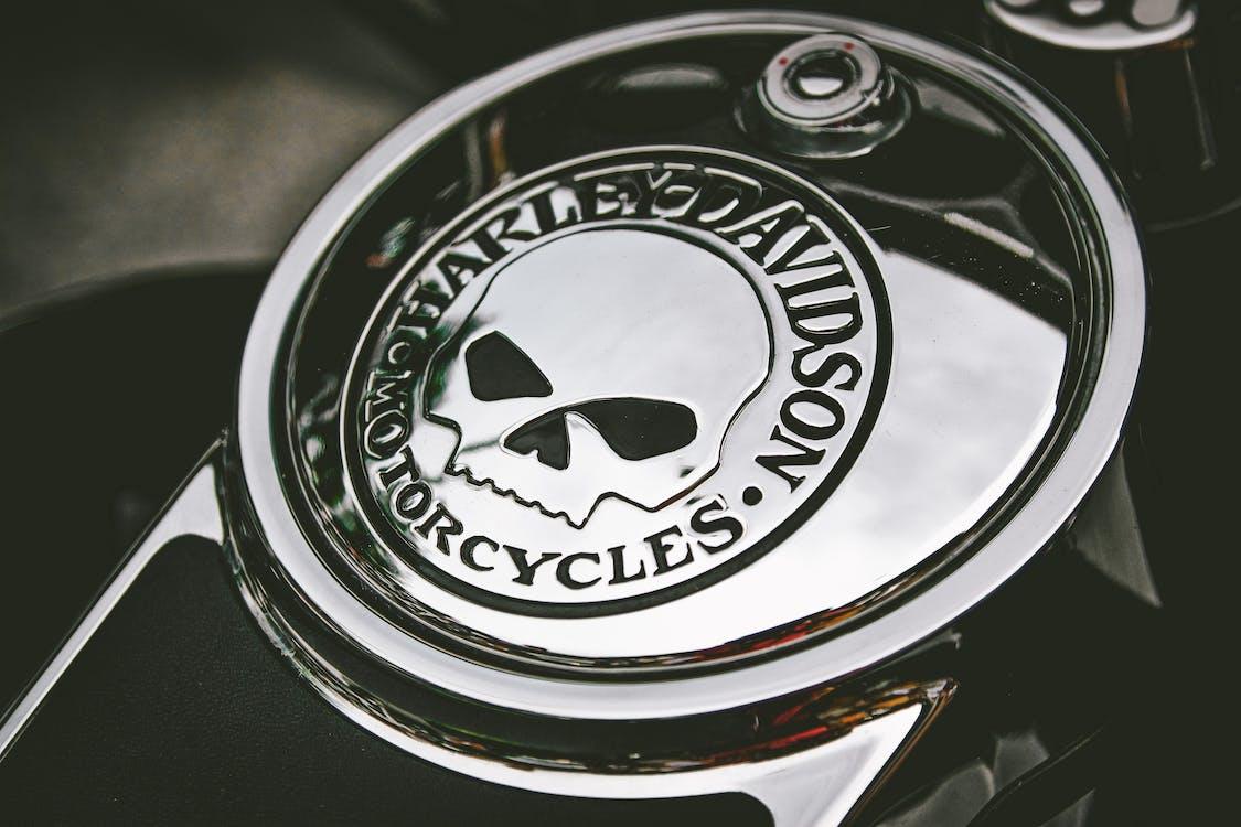 Close-Up Photo of Harley Davidson Emblem