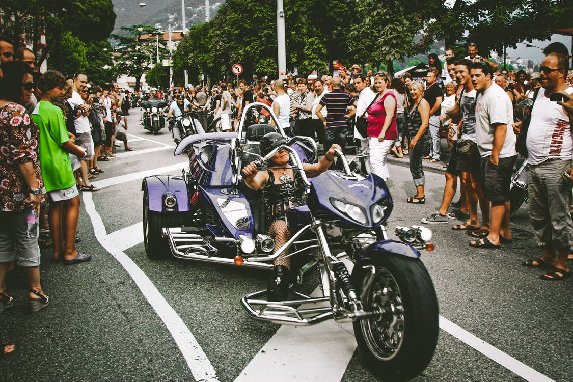 Black and Purple Touring Motorcycle