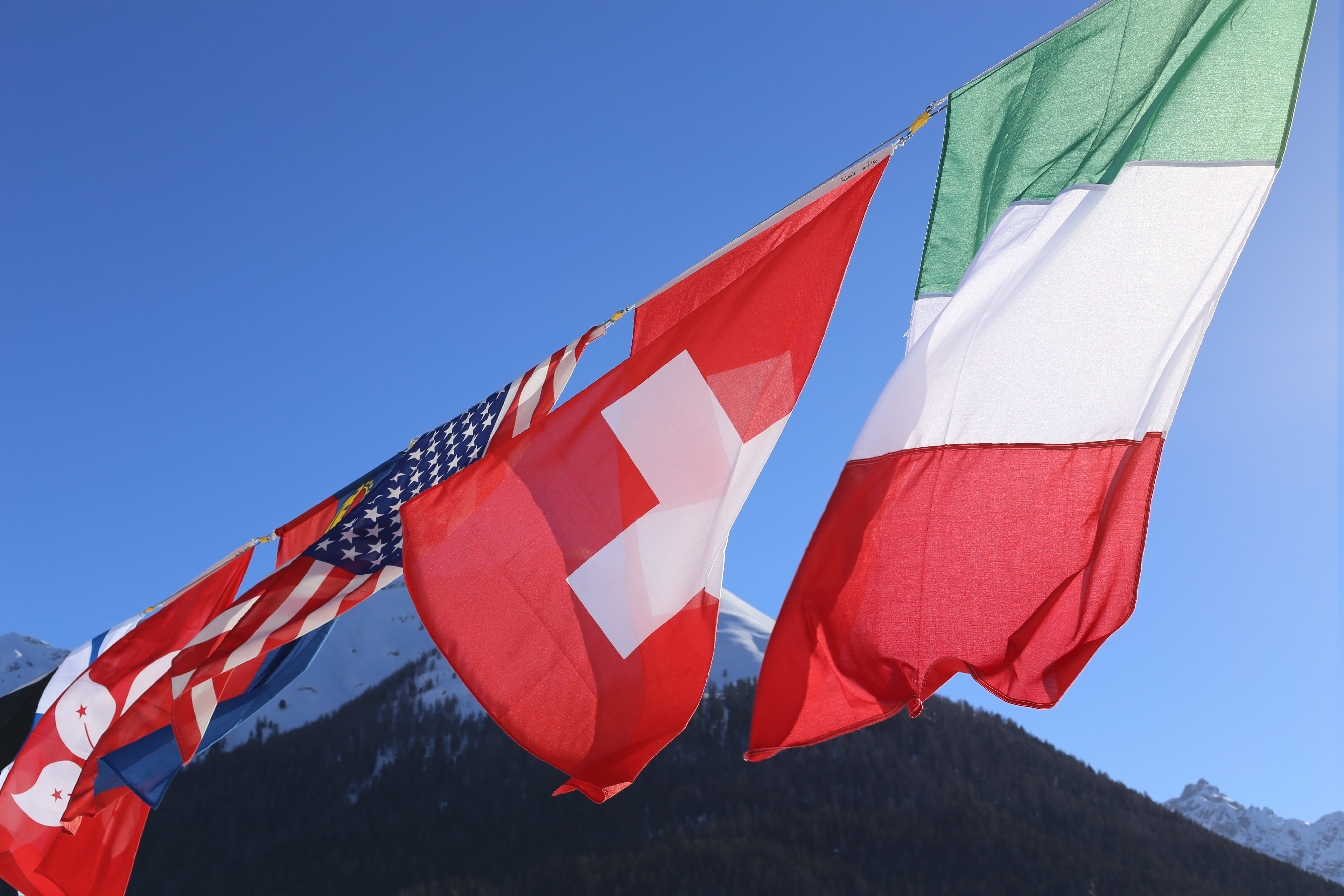 Free stock photo of america, blue sky, flags, italy