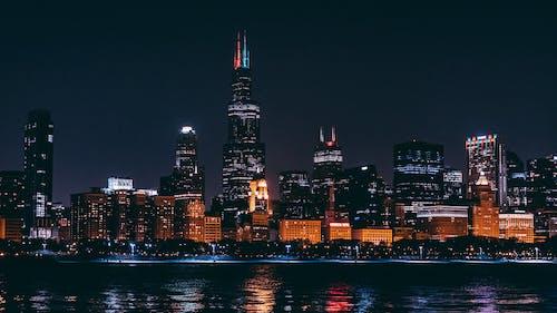 Ảnh lưu trữ miễn phí về các tòa nhà, cảnh quan thành phố, chicago, đêm