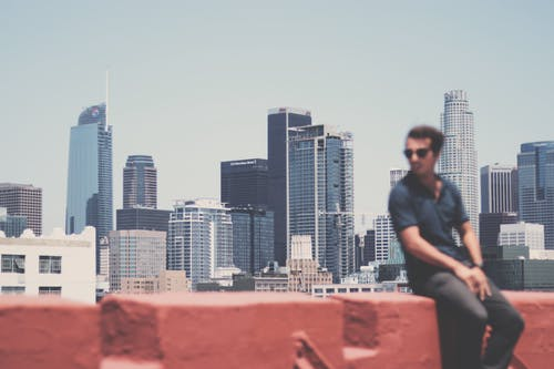 Cityscape with an Out of Focus Man