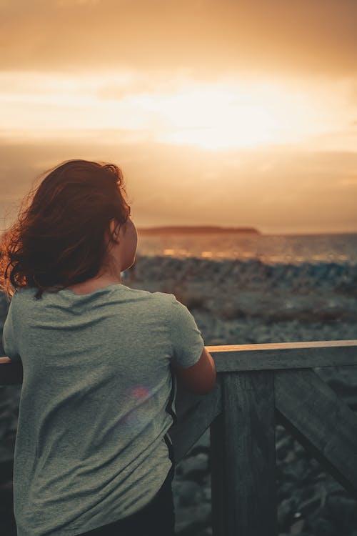 ahşap korkuluk, arkadan görünüm, deniz, deniz kıyısı içeren Ücretsiz stok fotoğraf