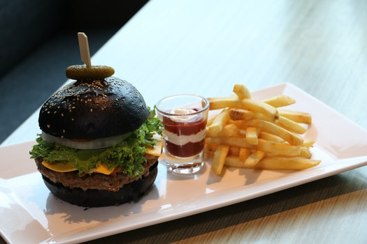 French Fries With Dip on Shot Glass and Black Buns Burger Platter
