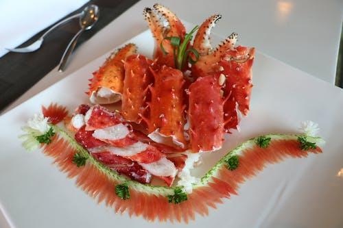 Imagine de stoc gratuită din cină, crab, decorațiuni alimentare, farfurie