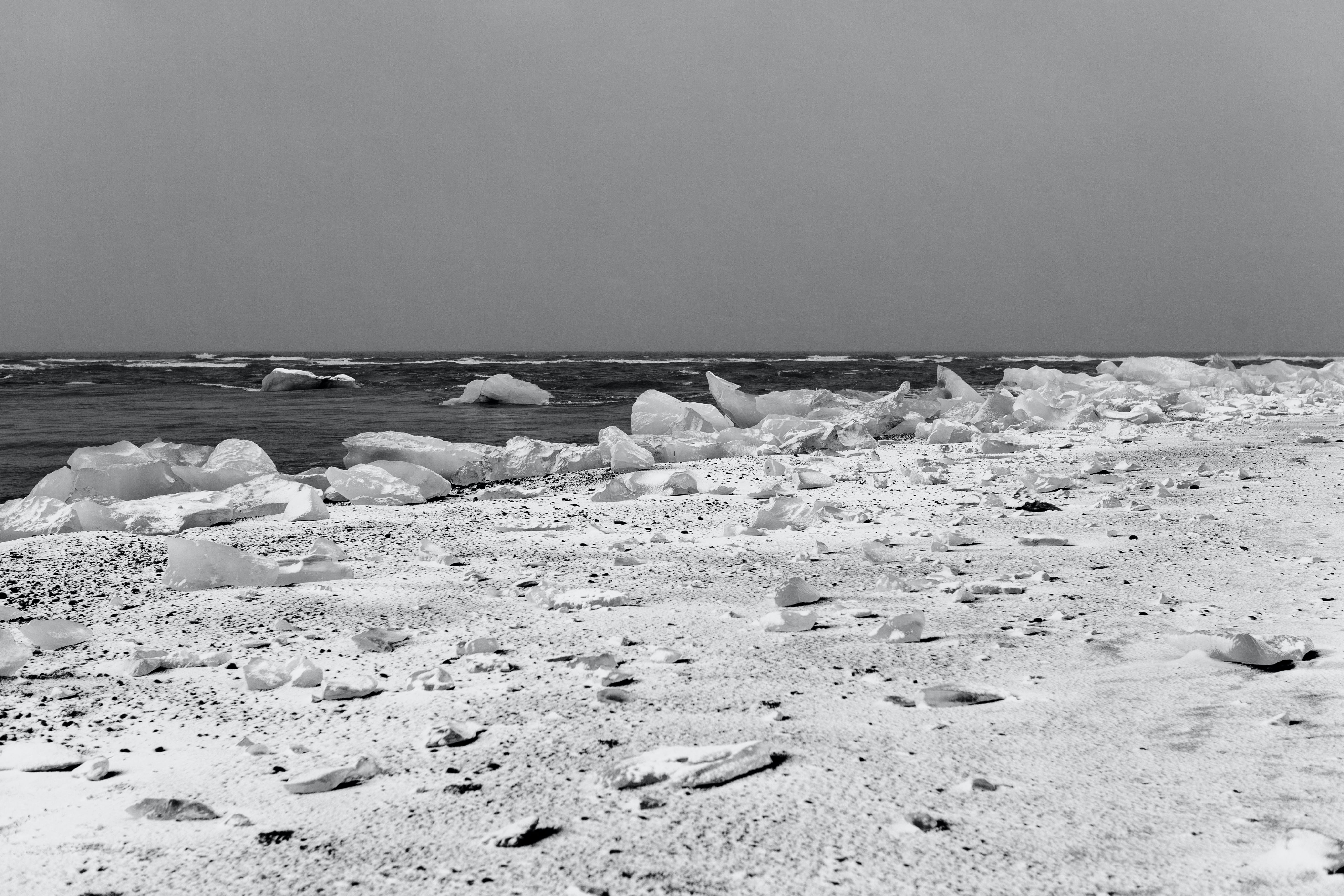 black-and-white, cold, ice