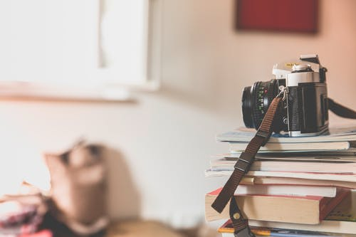 Free stock photo of books, camera, depth of field, photography