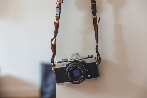 Free stock photo of camera, classic, hanging, lens