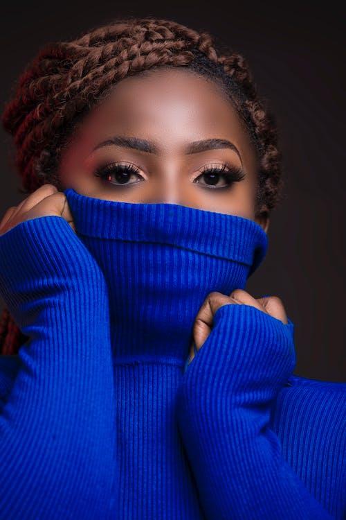 Woman Wearing Blue Longsleeves
