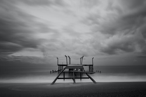 Black And White Photo Of Dock