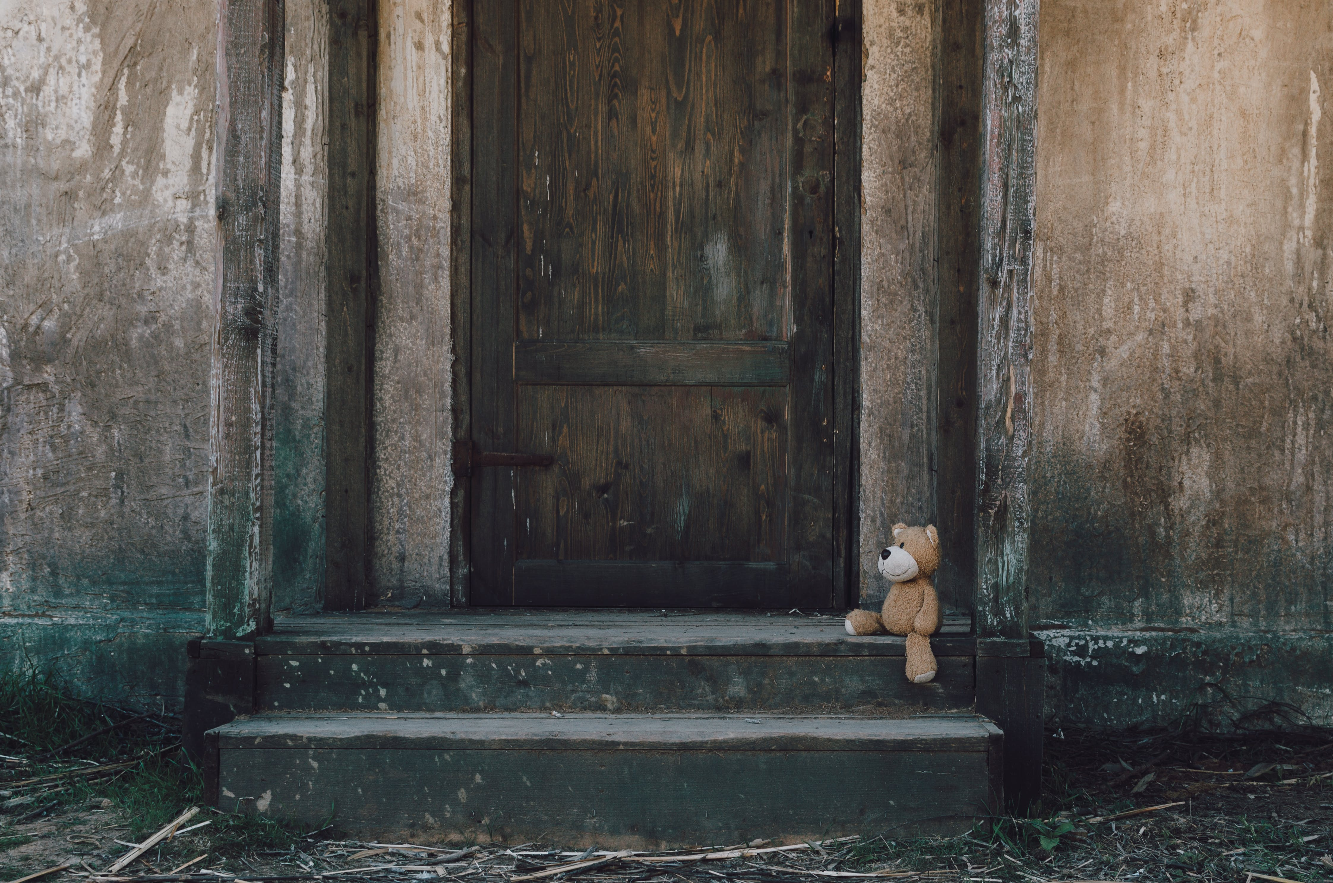 Brown Teddy Bear Near Wooden Door