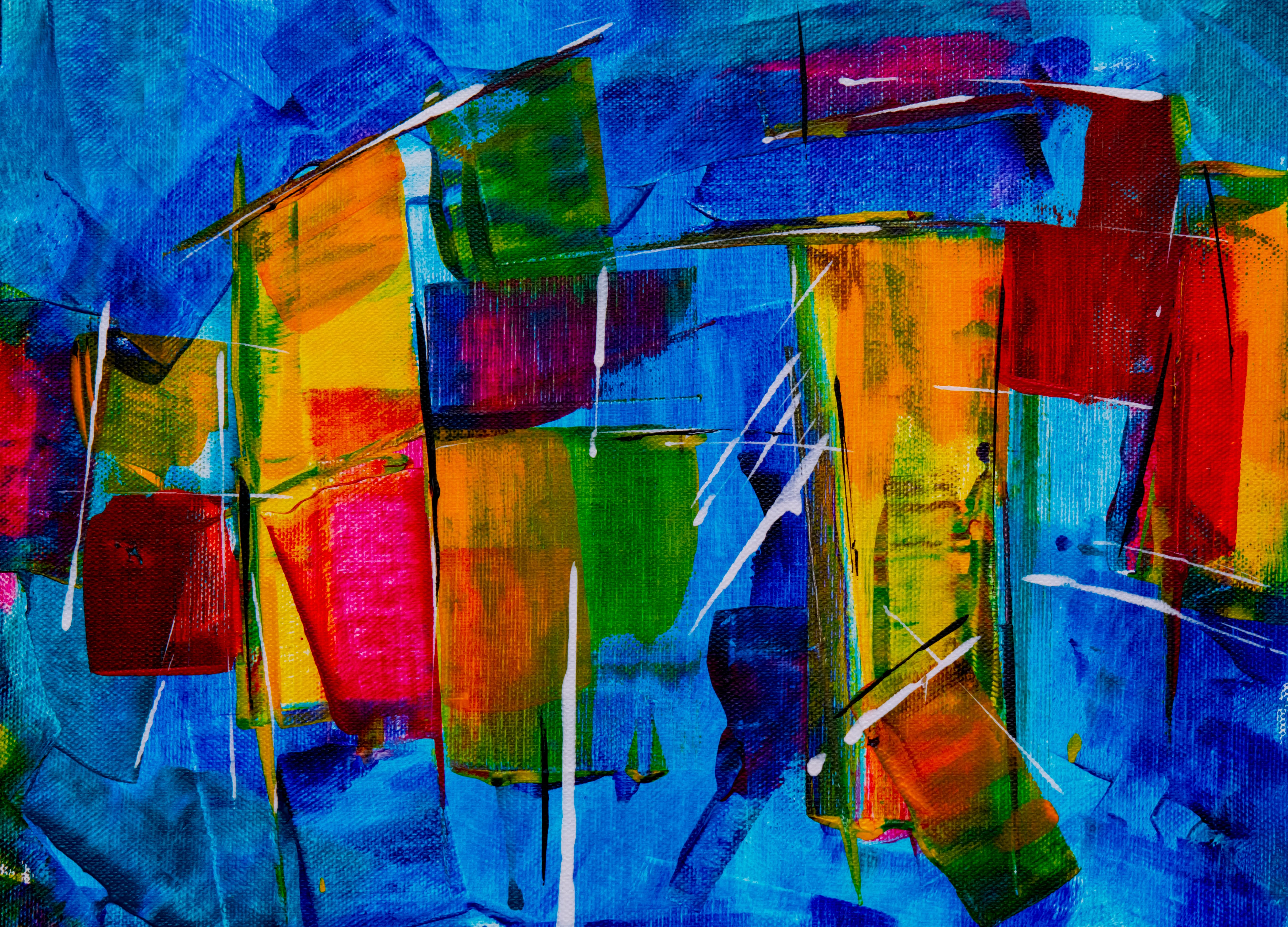 Green, Blue And Red Abstract Painting