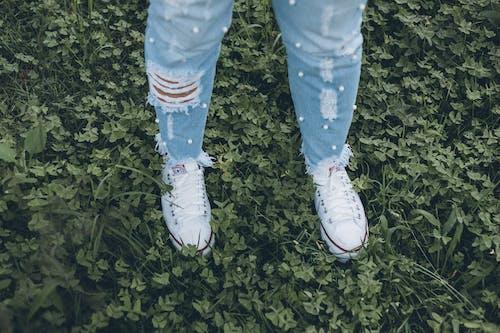 Photos gratuites de allstar, blanc, jeans, jeune fille