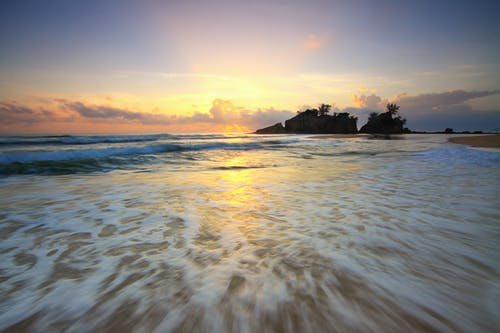 คลังภาพถ่ายฟรี ของ การสะท้อน, ชายทะเล, ชายหาด, ตะวันลับฟ้า