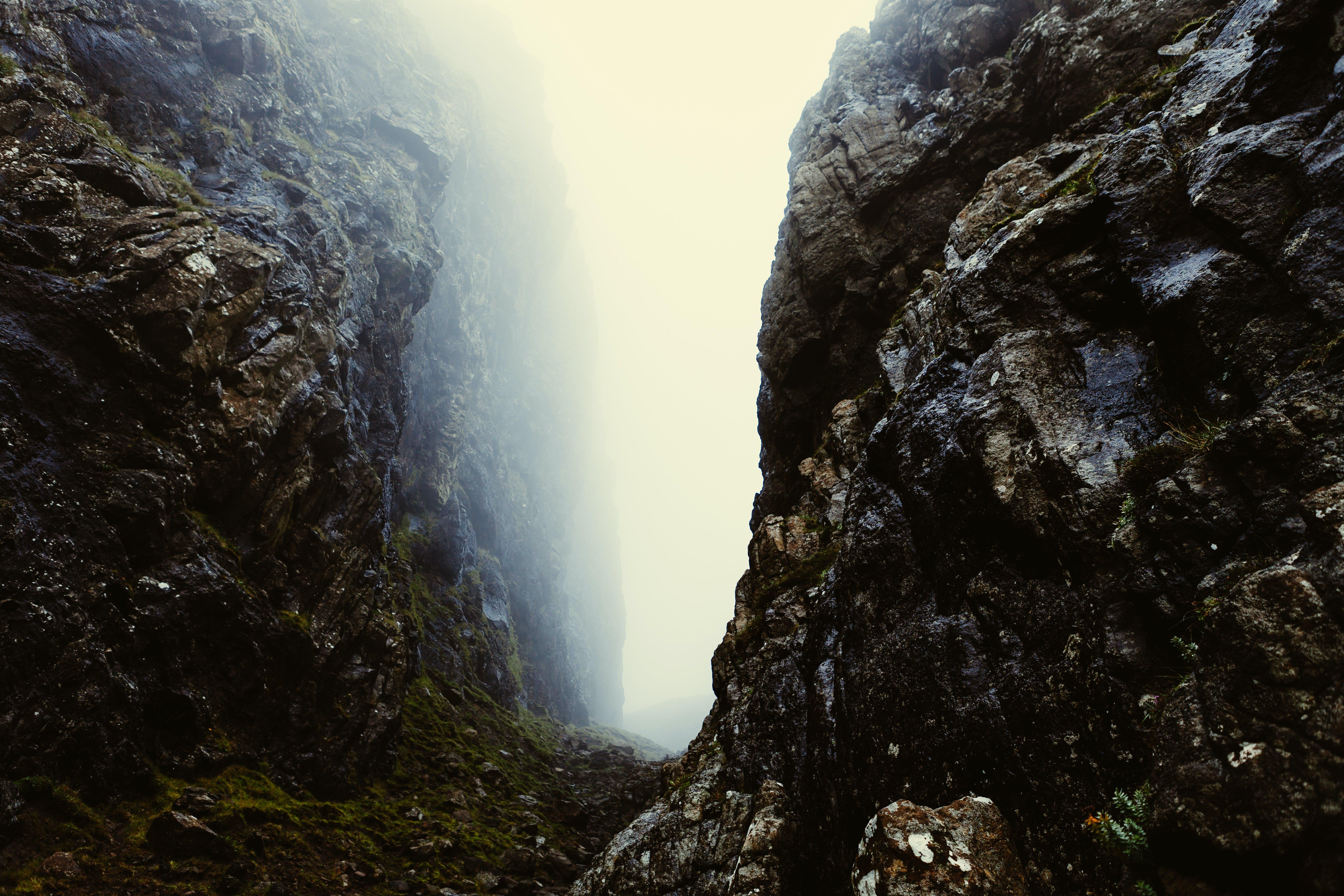 cliff, fog, foggy