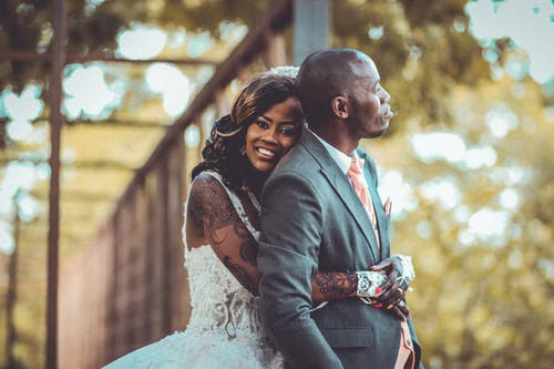 Free stock photo of black couple, bride, groom