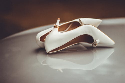 White Leather Peep Toe Ankle Strap Heels