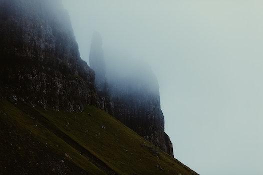 Free stock photo of mountains, rocks, fog, foggy