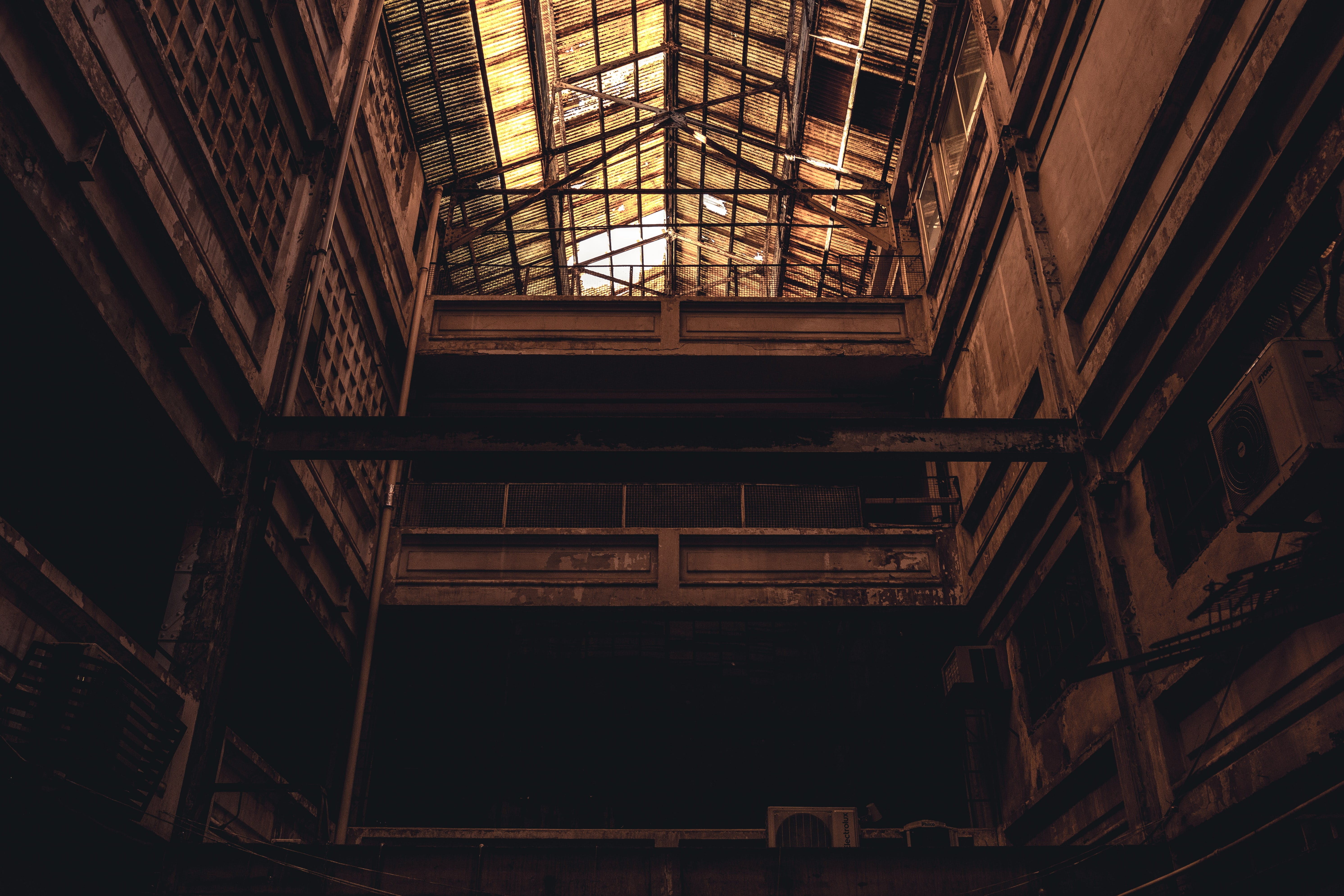 Free stock photo of abandoned, industry, look up, old