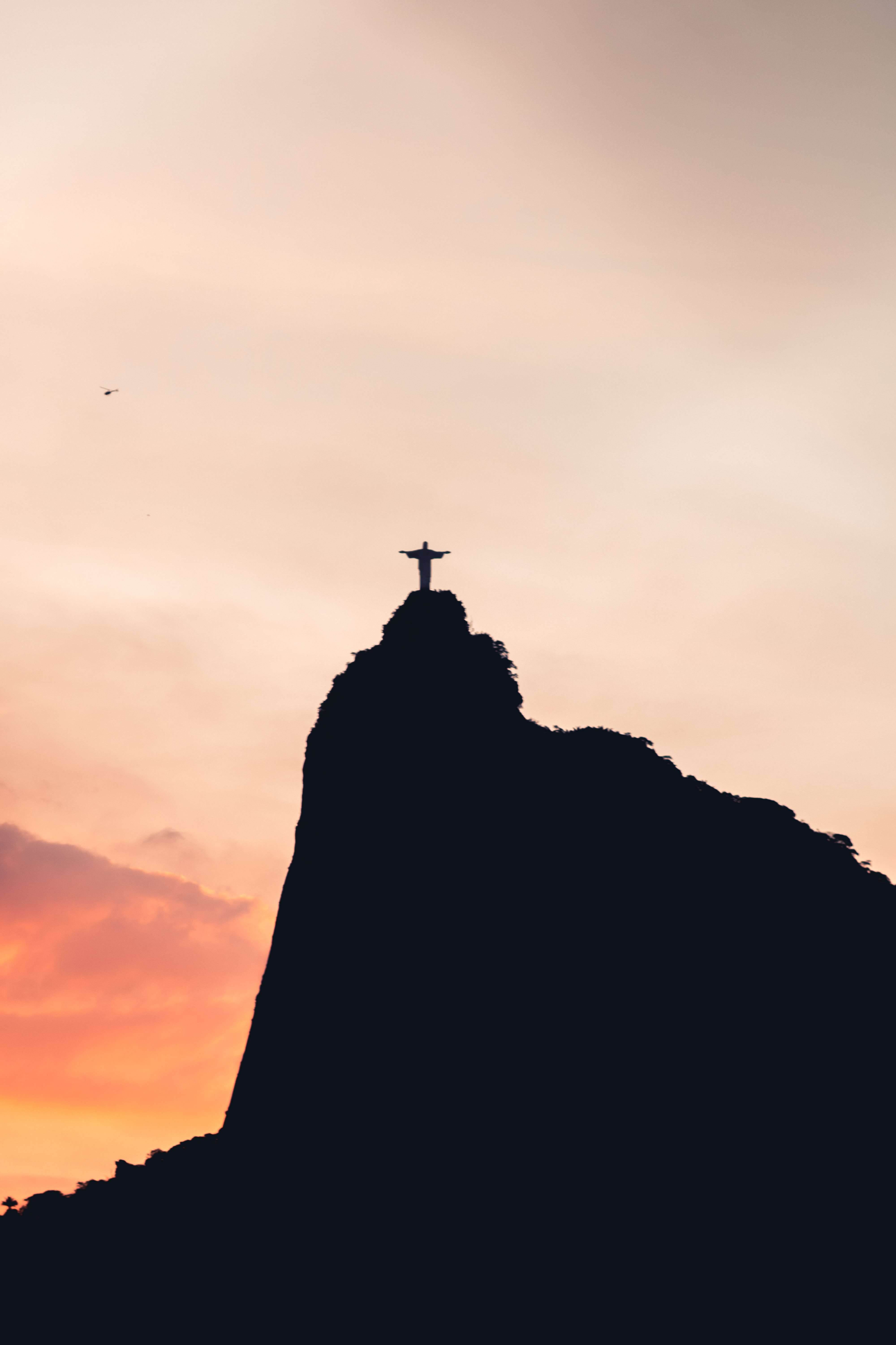 Black And White Silhouette Of Christ The Redeemer Free Stock Photo