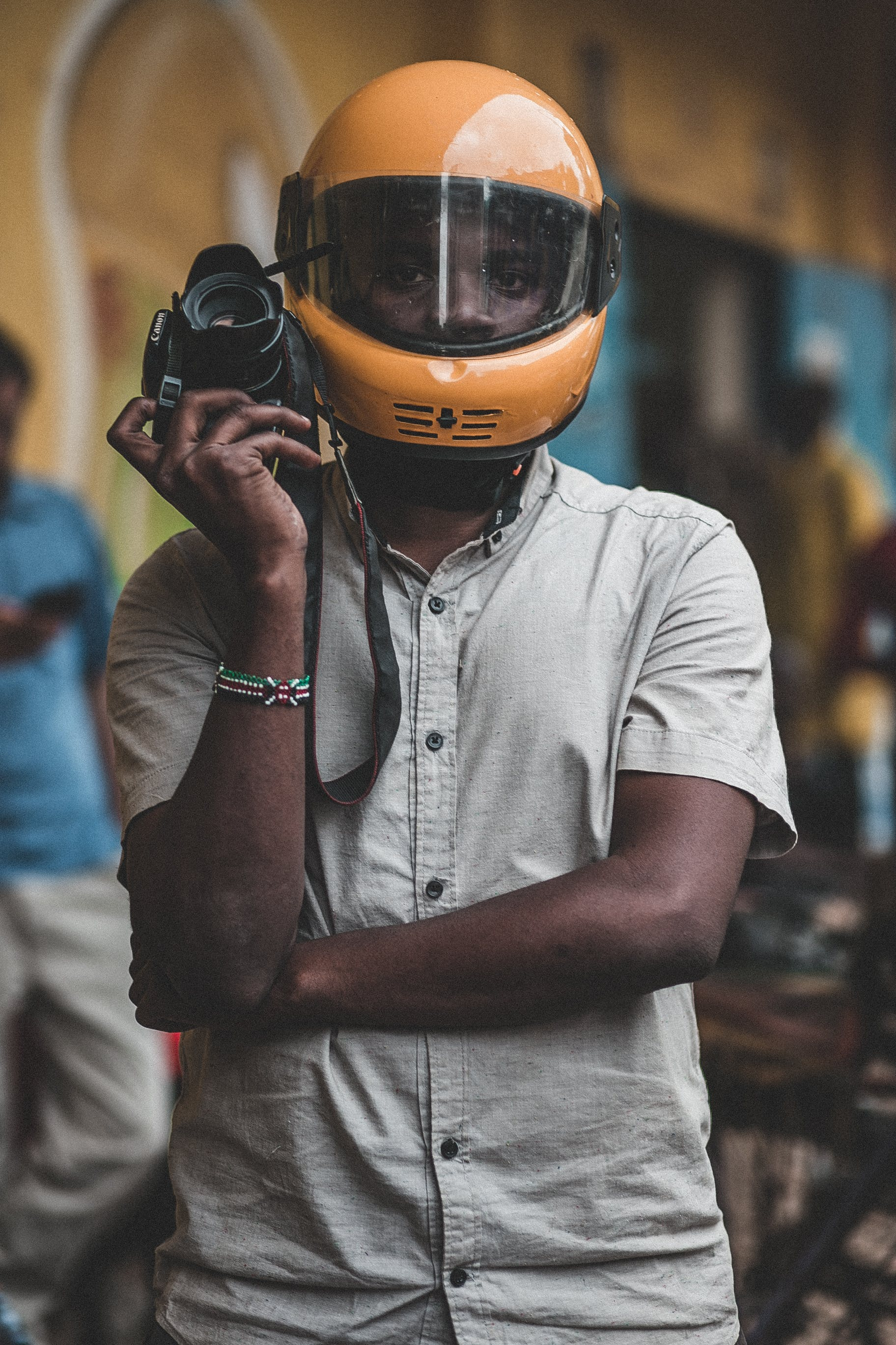 Man Wearing Yellow Helmet