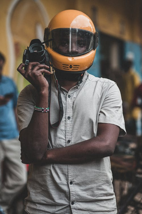 Man Wearing Yellow Helmet