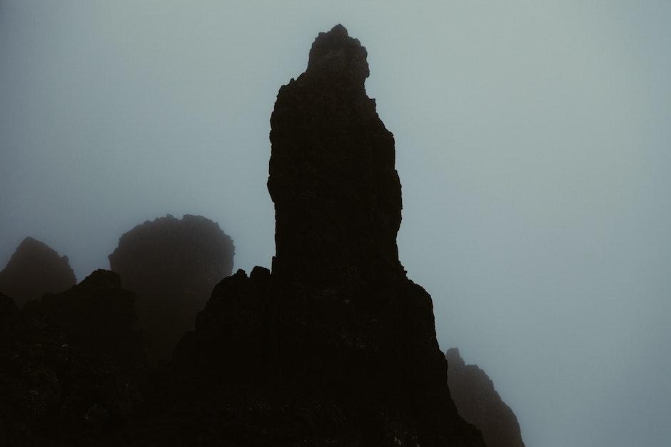 cliff, dark, mountains
