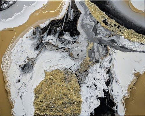 Ingyenes stockfotó absztrakt festmény, fekete arany, festés, geode témában