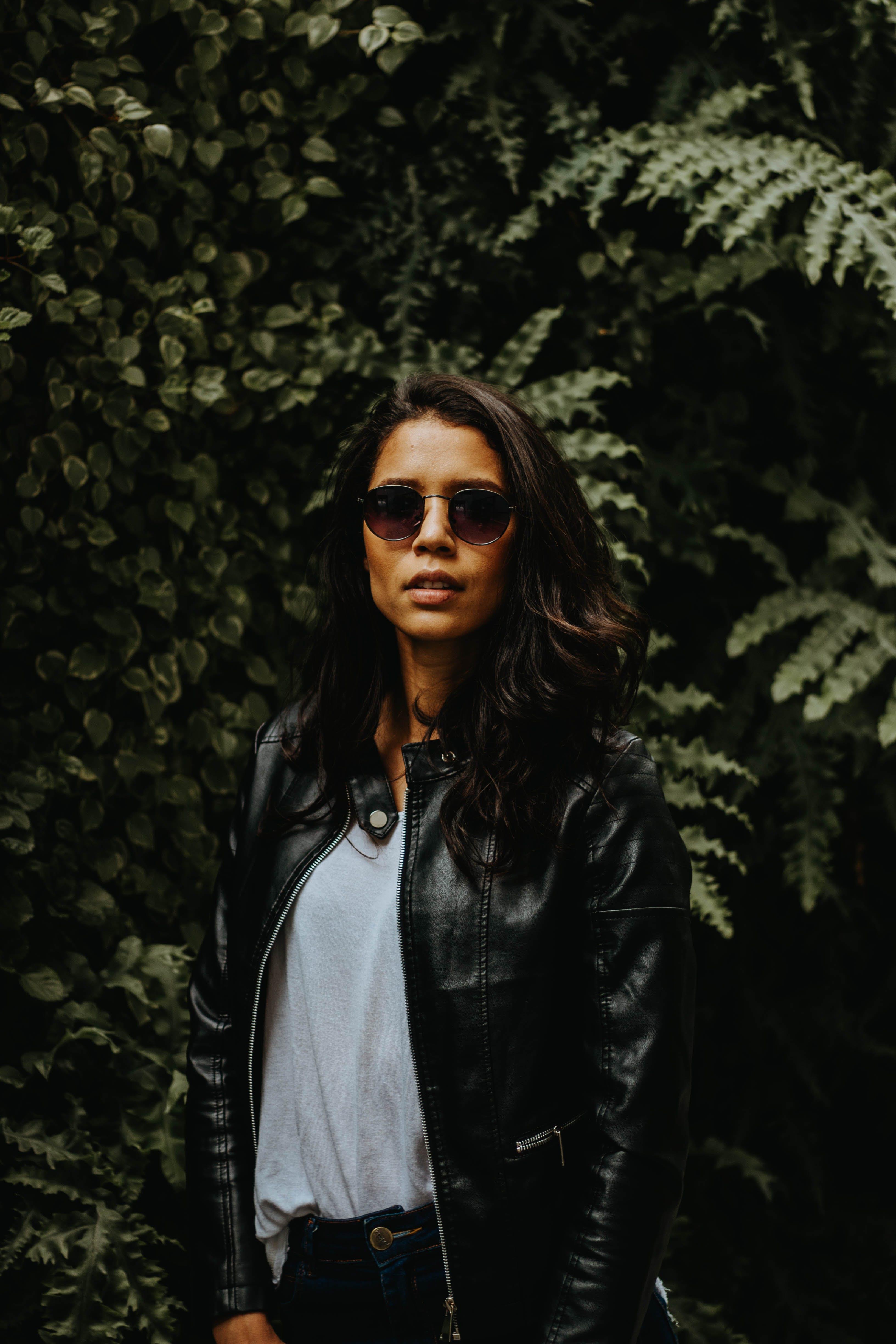 Women's Black Leather Zip-up Jacket