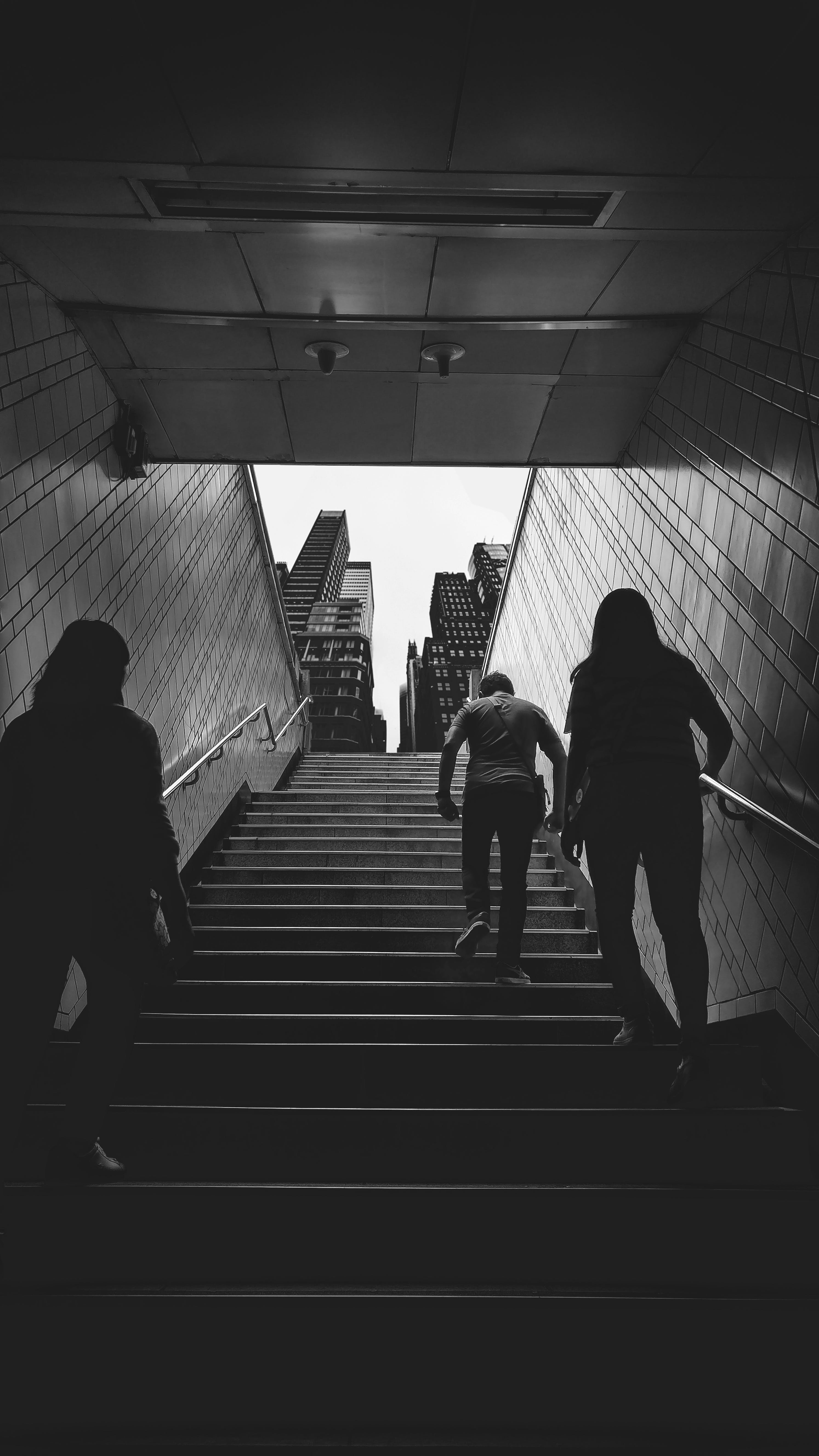 Free stock photo of black and white, building, staircase, underground