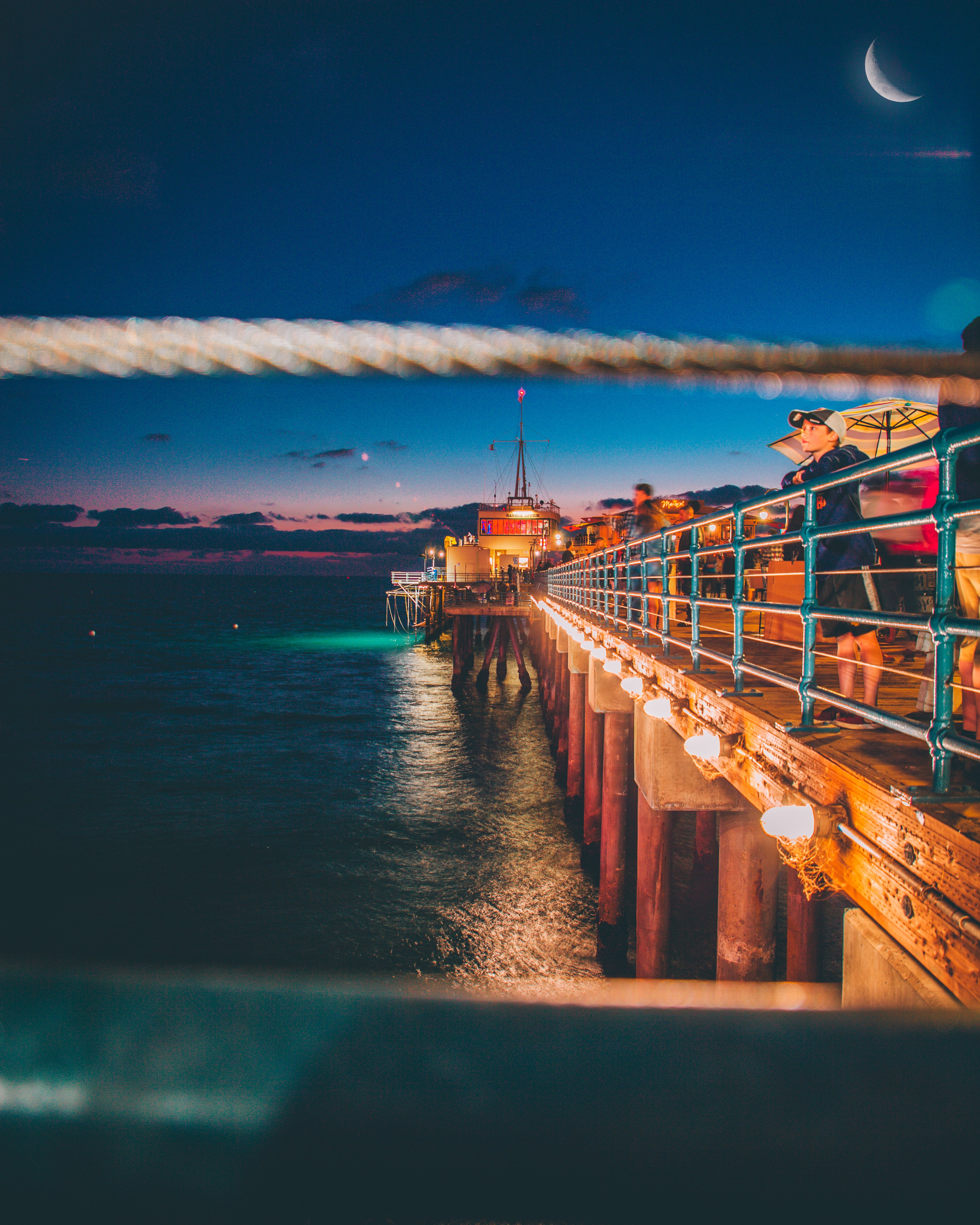 Free stock photo of crescent moon, lines, pier, Santa Monica