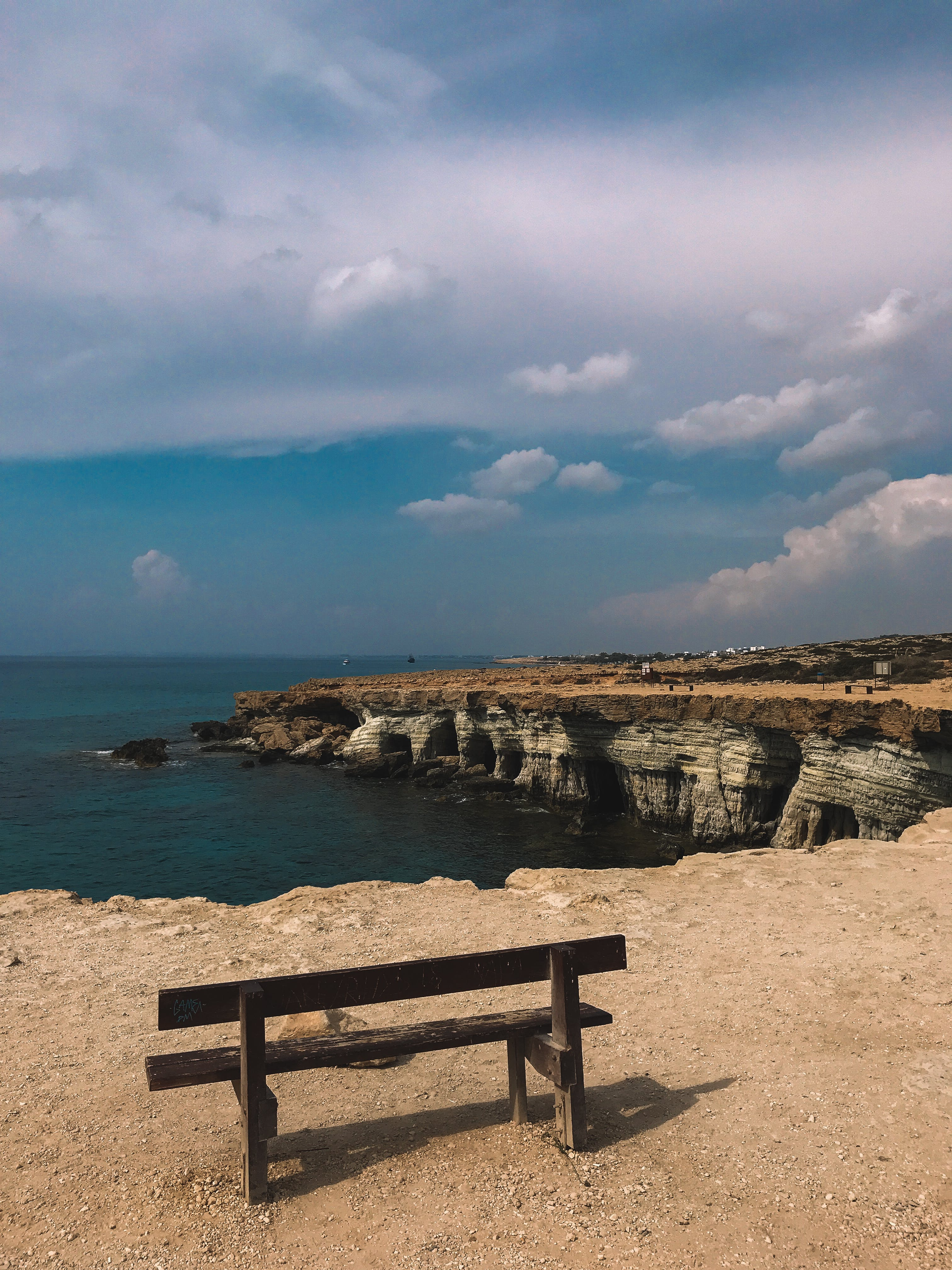 Free stock photo of bench, cape, cave, cyprus