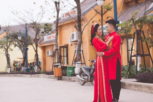Women's Red and Black Sari Dress