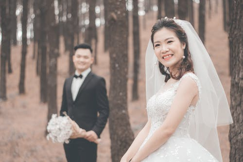 Free stock photo of asian couple, beautiful, bouquet, bride