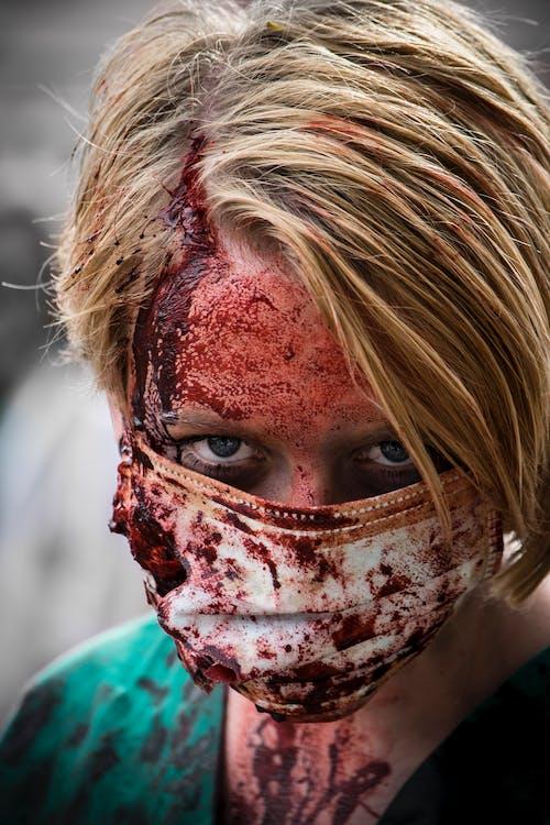 Woman Wearing Bloody Mask