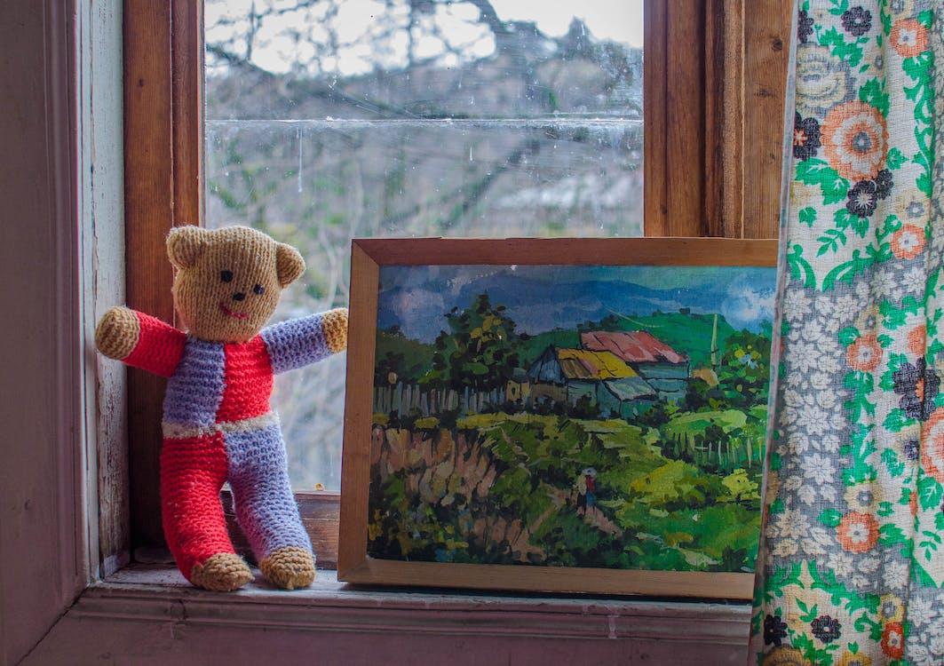 abstract olieverfschilderij, beer, dorp