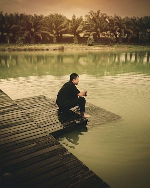 Imagine de stoc gratuită din om, om în lac, vară