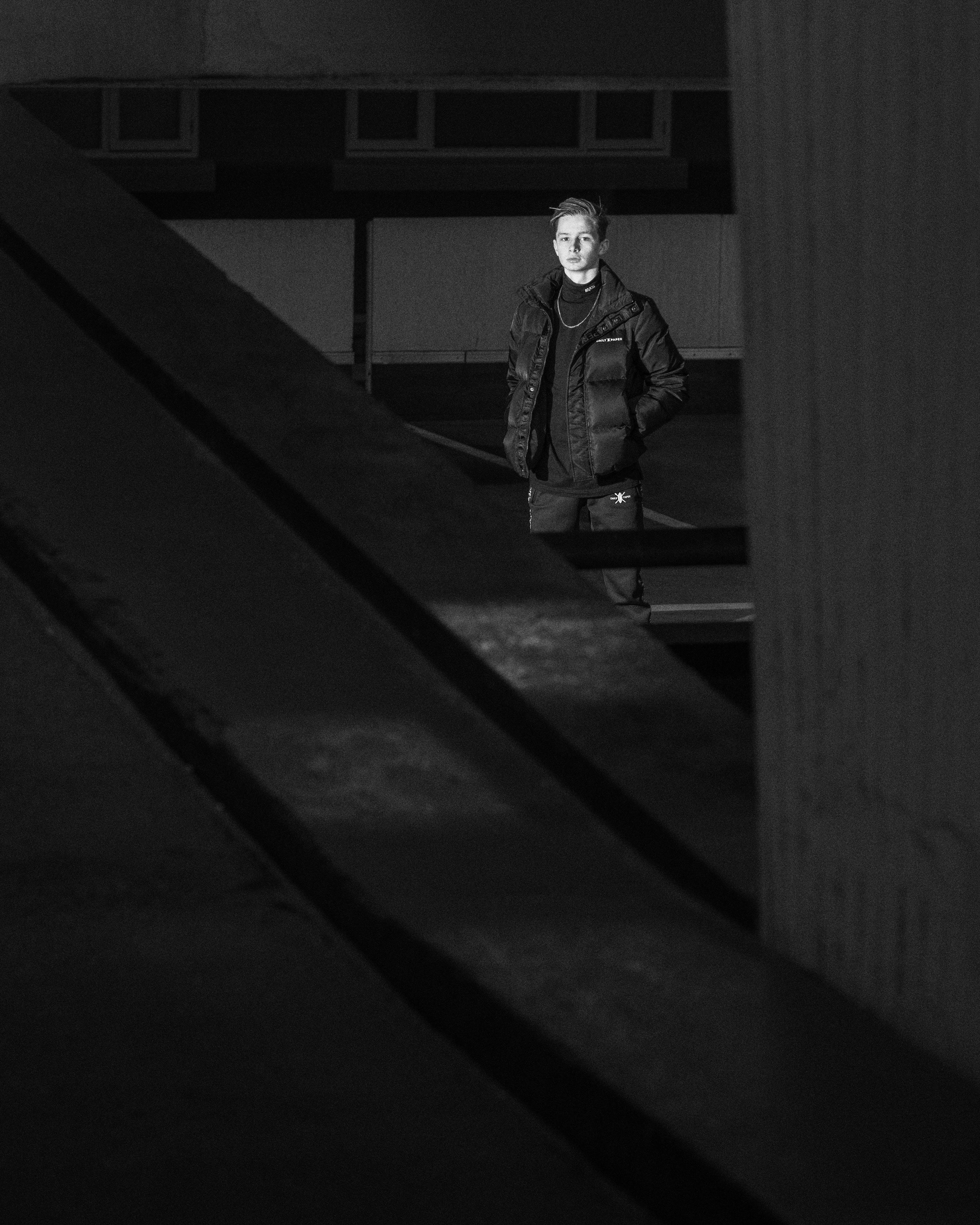 Free stock photo of black and white, night, person, urban