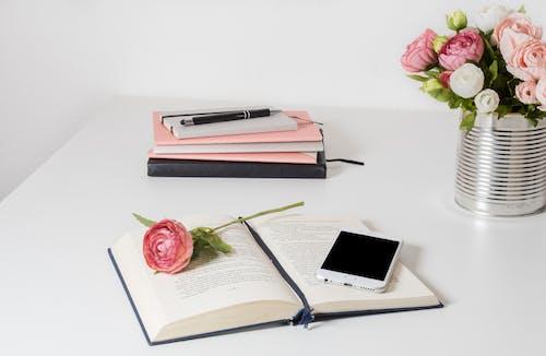 Foto stok gratis biro, bisa, buku-buku, bunga-bunga