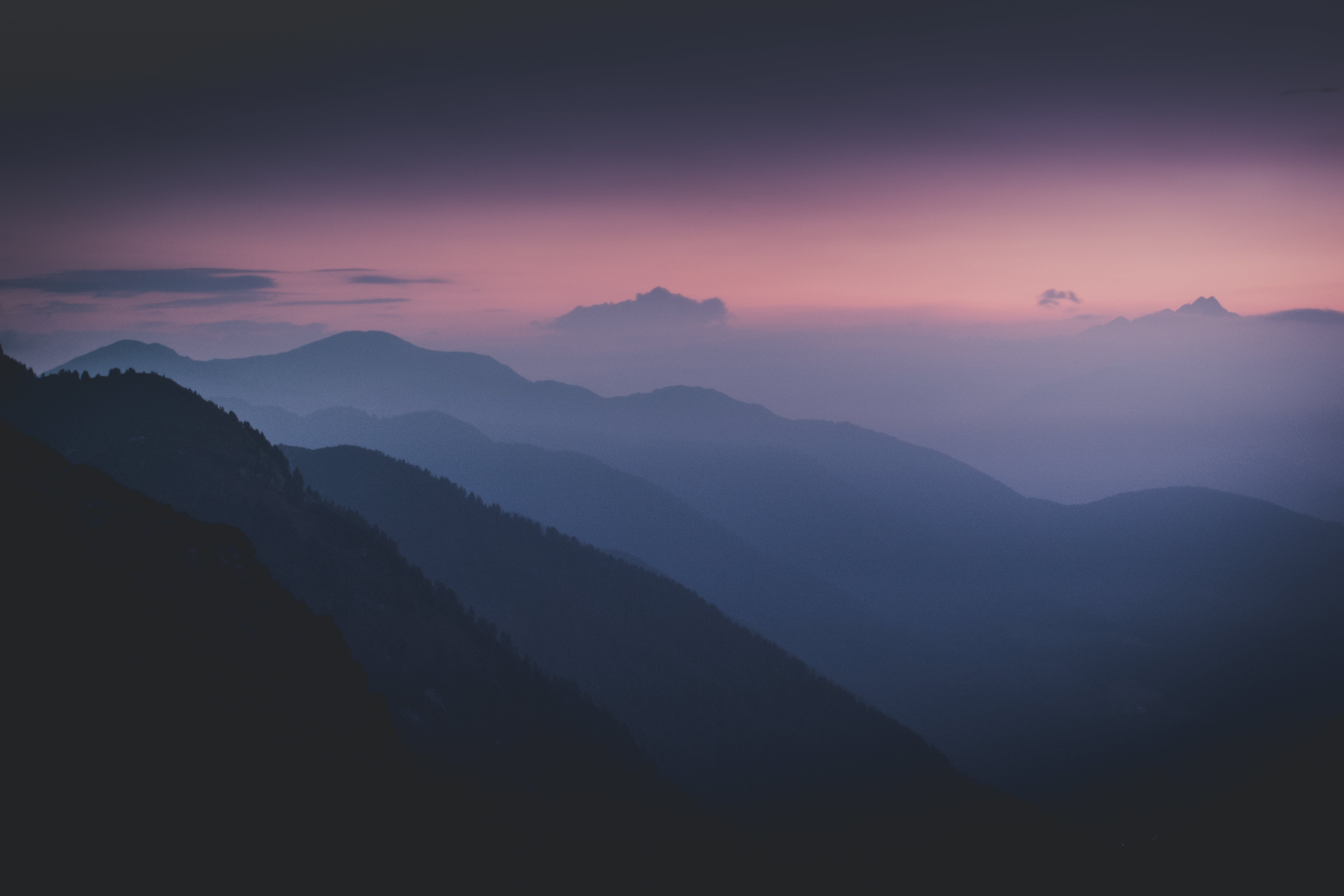 Silhouette Of Mountains During Dawn