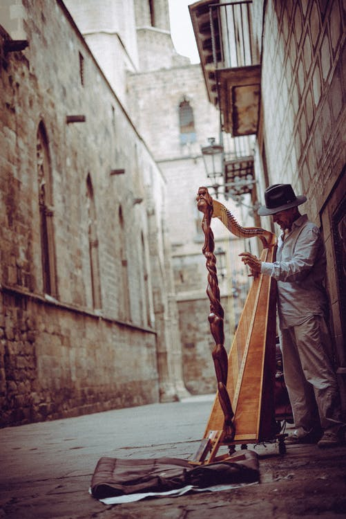 Foto Van Man Harp Spelen