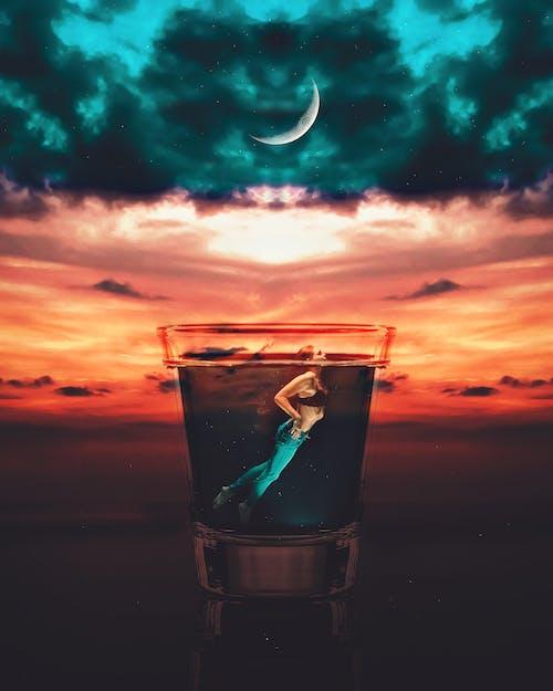 Ilmainen kuvapankkikuva tunnisteilla auringonlasku, malli, manipulointi, sininen